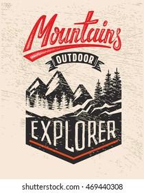 vector Adventure vintage logo on mountain badge