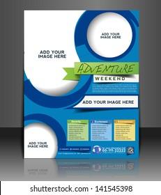 Vector adventurer brochure, flyer, magazine cover & poster template