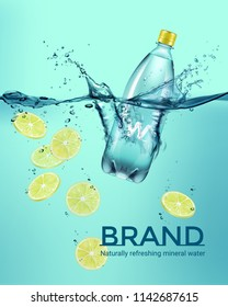 Vector advertisement campaign realistic illustration of bottle with drink and yellow sliced lemon falling in water with splash isolated on background