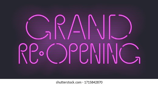 Vector advertising banner for grand opening or re-opening illustration with neon sign. Store opening or reopening soon advertising design element