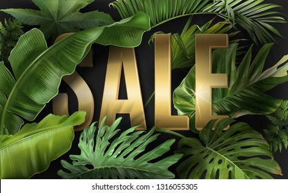Vector advertising banner with green tropical leaves and gold SALE letters on black. Exotic botany design for woman health care product discount, cosmetics, spa, perfume season offer