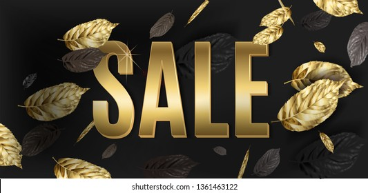 Vector advertising horizontal banner with gold and black falling leaves. Bright sale design for summer and fall season discount. Best as web banner