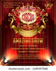 Vector advertising poster for circus amazing show, invitation to cirque performance. Promotion banner with red curtains on background, retro signboard illuminated by spotlights, golden ribbon for text