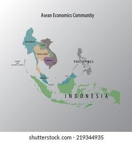 Vector AEC asean map