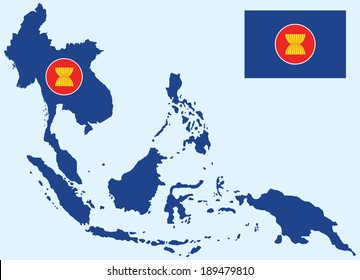 vector of aec asean map with flag