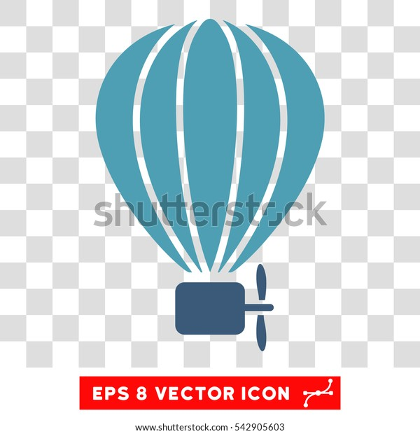 Vector Aerostat Balloon EPS vector icon. Illustration style is flat iconic bicolor cyan and blue symbol on a transparent background.