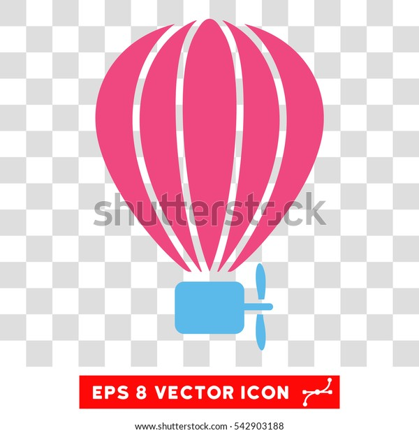 Vector Aerostat Balloon EPS vector pictogram. Illustration style is flat iconic bicolor pink and blue symbol on a transparent background.