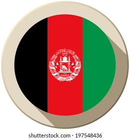 Vector - Afghanistan Flag Button Icon Modern