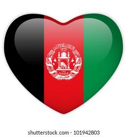 Vector - Afghanistan Flag Heart Glossy Button