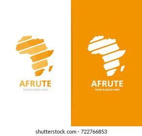 Vector africa logo combination. Safari symbol or icon. Unique continent logotype design template.