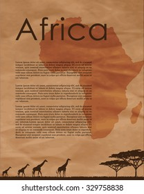 Vector africa map.  Abstract map of Africa in vector format on a background of crumpled old paper. African animals silhouettes in sunset design template.  African border and country name.