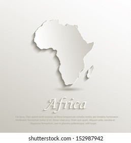 vector Africa map card paper 3D