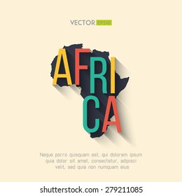 Vector africa map in flat design. Africa map background. African presentation design. African border and country name with long shadow.