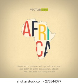 Vector africa map in vintage design. African border on grunge background. Letters are not cut and easy to move.