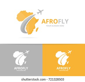 Vector africa and plane logo combination. Safari and travel symbol or icon. Unique geography, continent and flight logotype design template.