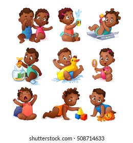 Vector African American Little Girls and Boys Set. Cute Children. Kids play