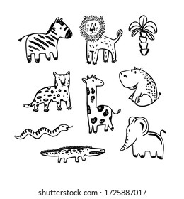 Vector african animals set  . Coloring illustration. Collection of cute animals in black and white. Perfect for kids t-shirt print