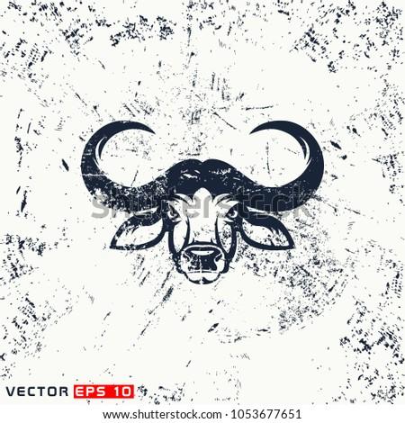 7e7f2b37d Vector African Buffalo Head On Grunge Stock Vector (Royalty Free ...