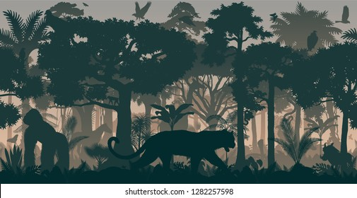 Vector African horizontal seamless tropical rainforest Jungle background with animals