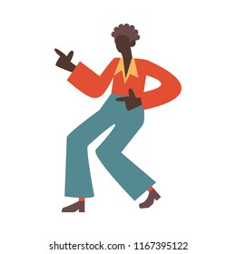 Vector african man dancing in retro 70s disco style. Flat silhouette illustration with handsome black girl at vintage 80s party. Male dancer character, isolated illustration.