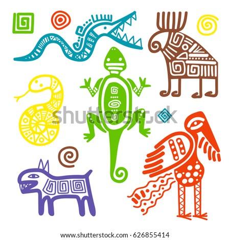 Vector African Mexican Culture Primitive Tribal Stock Vector