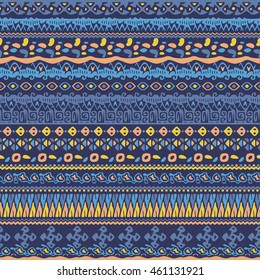 Vector african style pattern with tribal motifs. Elegant ornament with geometric hand drawn decorative stripes for prints, fabrics, backgrounds