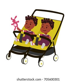 Vector african twins baby girl on perambulator white background isolated.