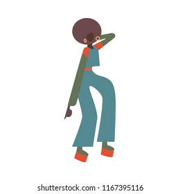 Vector african woman dancing in retro 70s disco style. Flat silhouette illustration with attractive black girl at vintage 80s party. Female dancer character, isolated illustration.