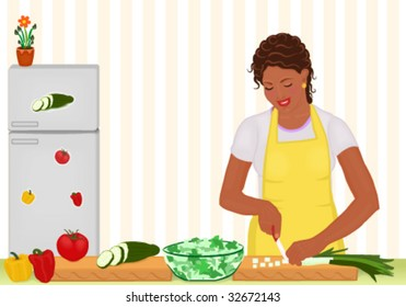Vector African woman preparing salad in the kitchen