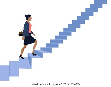 Vector - Afro American Businesswoman Go Up Stair Illustration