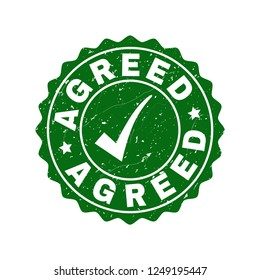 Vector Agreed scratched stamp seal with tick inside. Green Agreed overlay with dirty style. Round rubber stamp imprint.