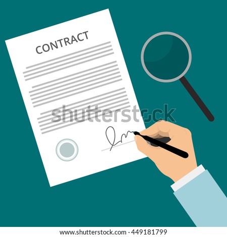 Vector Agreement Icon Hand Signing Contract Stock Vector Royalty