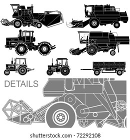 vector agricultural vehicles silhouettes set