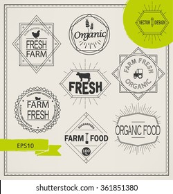 Vector agriculture and organic farm fresh line logos - set of design elements and badges for food industry in outline style.