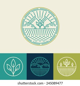 Vector agriculture and organic farm line logos - set of design elements and badges for food industry