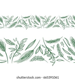 Vector Agriculture Seamless Borders   Farming green wheat and rye spike repeating design elements