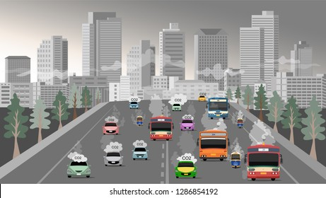 vector of air environtment pollutions at the city of bangkok in thailand