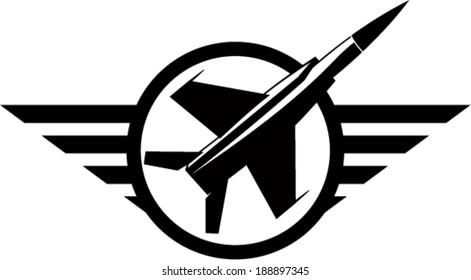Vector air force emblem with plane