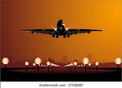 Vector Airbus landing at sunset.