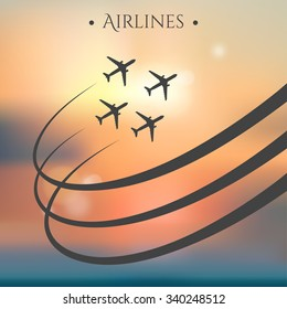 Vector aircraft brochure with planes and airplane stream jet. Can be used for travel agencies, aviation companies. Airline banner