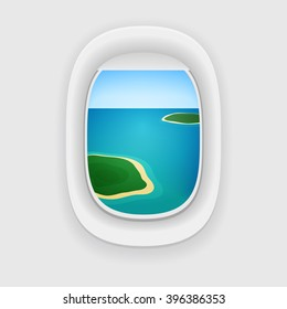 Vector aircraft porthole, window with a travel destination: blue sea or ocean and tropical islands.