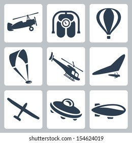 Vector aircrafts icons set: autogyro, jet pack, air balloon, paraglider, helicopter, hang-glider, glider, flying saucer, airship