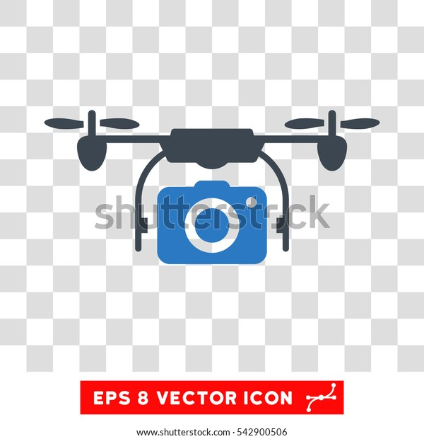 Vector Airdrone Camera EPS vector icon. Illustration style is flat iconic bicolor smooth blue symbol on a transparent background.