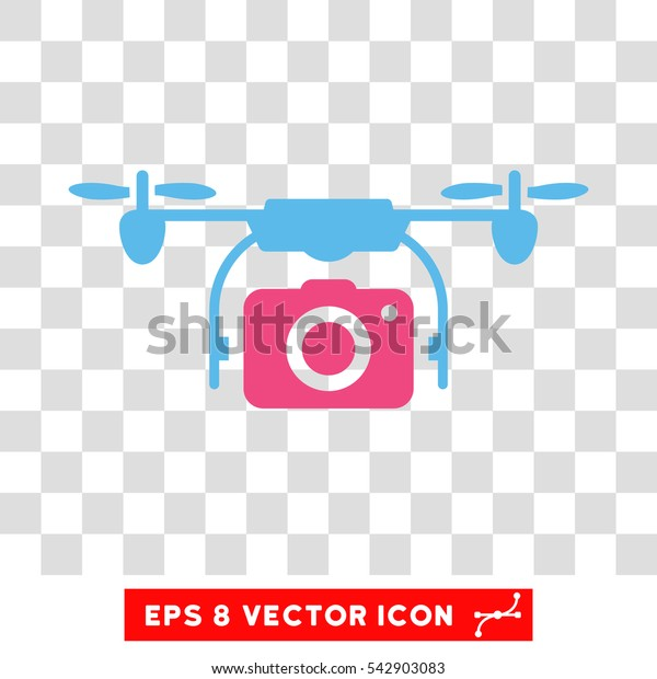 Vector Airdrone Camera EPS vector pictograph. Illustration style is flat iconic bicolor pink and blue symbol on a transparent background.