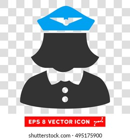 328903db927 Vector Airline Stewardess EPS vector icon. Illustration style is flat  iconic bicolor blue and gray