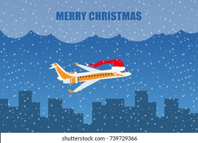 Vector airplane with christmas hat