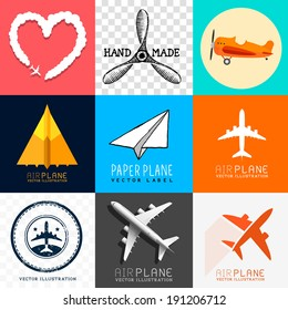 Vector Airplane Collection. Set of various planes and aircraft symbols, vector illustration.