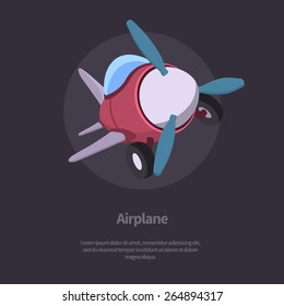 Vector airplane flying out from the frame. Modern flat style design