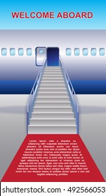 Vector airplane image with the ladder and open the door