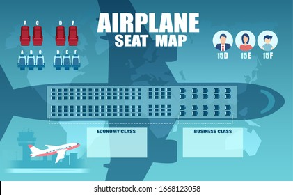 Vector of an airplane seat chart, plan of passenger seats with top view.